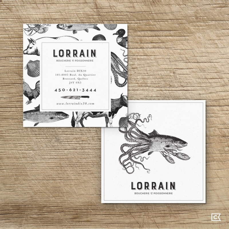 Identity for Montreal quality foodstores Lorrain Boucherie & Poissonnerie by Compass Island